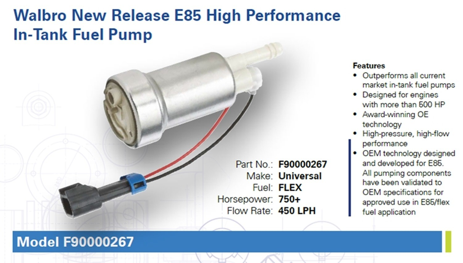 Walbro 450lph In Tank Fuel Pump E85 Compatible Klm Fabrication High Pressure